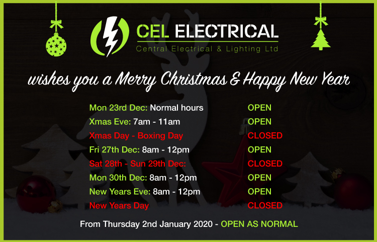 CEL Electrical 2019 Christmas Opening Hours