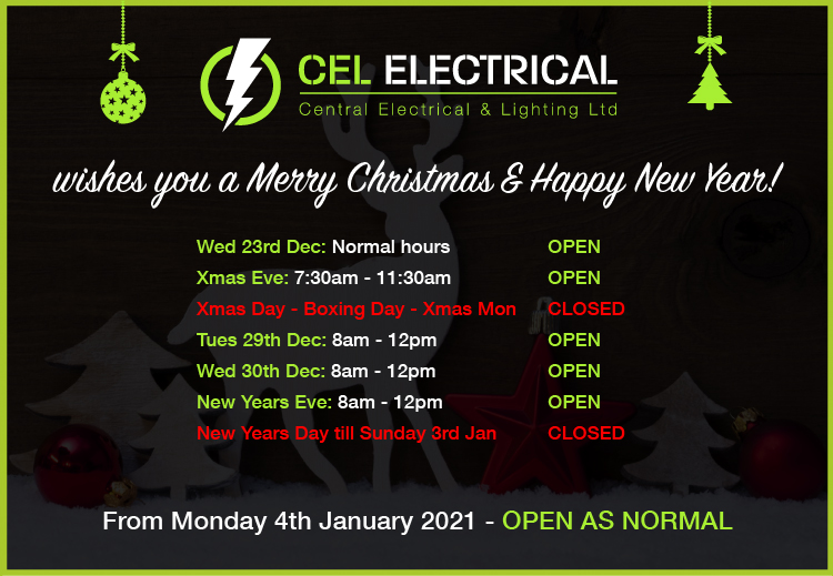 CEL Electrical 2020 Christmas Holiday Opening Hours